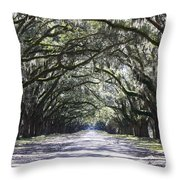 Live Oak Lane In Savannah Throw Pillow
