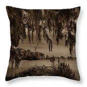 Live Oak Tree Spanigh Moss Sepia Silhouette Throw Pillow
