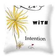 Live With Intention Flower Inspirational Print And Quote By Megan Duncanson Throw Pillow