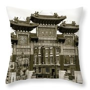 Liverpool Chinatown Arch, Gate Sepia Throw Pillow