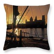 Liverpool, England View From Albert Dock Throw Pillow