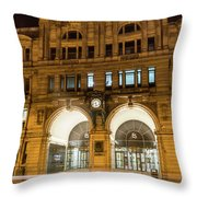 Liverpool Exchange Railway Station By Night Throw Pillow