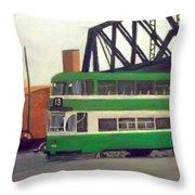 Liverpool Tram 1953 Throw Pillow