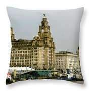 Liverpool Waterfront Throw Pillow