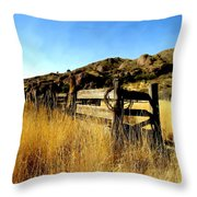 Livery Fence At Dripping Springs Throw Pillow