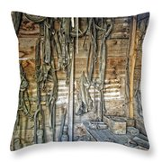 Livery Stable Work Bench - Virginia City Montana Throw Pillow