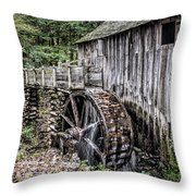 Cable Mill Gristmill - Great Smoky Mountains National Park Throw Pillow