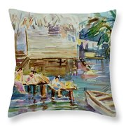 Living On The Water Throw Pillow