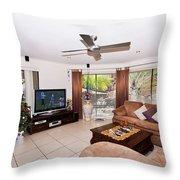Living Room At Christmas Throw Pillow