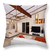 Living Room With Sloping Ceiling Throw Pillow