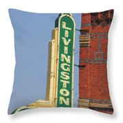 Livingston Bar And Grill Old Neon Sign Montana Throw Pillow