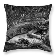 Lizard-bw Throw Pillow