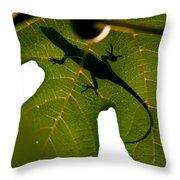Lizard On A Fig Leaf Throw Pillow