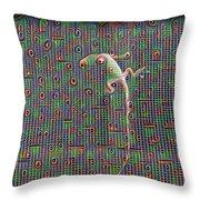 Lizard On A Screen Porch Throw Pillow