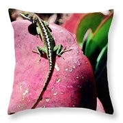Lizard On Leaf Throw Pillow