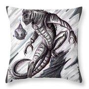 Lizard Warrior Throw Pillow