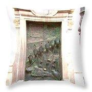 Ljubljana Bronze Church Door Throw Pillow