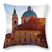 Ljubljana Church And Square Sunset View Throw Pillow
