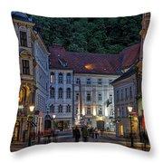 Ljubljana Night Scene - Slovenia Throw Pillow
