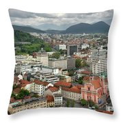 Ljubljana Slovenia With Karawanks, Kamnik Savinja, Limestone Alp Throw Pillow