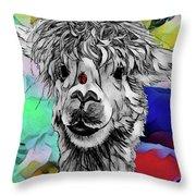 Llama And Lady In Splash Throw Pillow