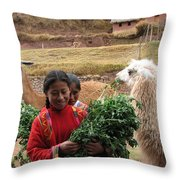 Llama Herder Throw Pillow
