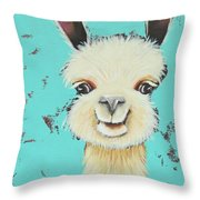 Llama Sue Throw Pillow