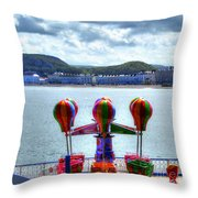 Llandudno Fun For The Kids On The Pier Throw Pillow