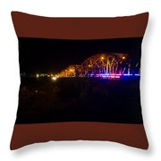 Llano Bridge At Night Throw Pillow