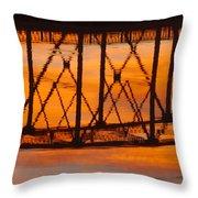 Llano Bridge Reflection Throw Pillow
