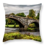 Llanrwst Bridge Panorama Throw Pillow
