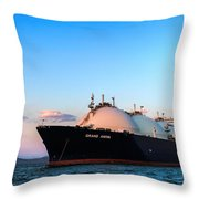 Lng Carrier Grand Aniva At Sunset On The Roads Of The Port Of Nakhodka.  Throw Pillow