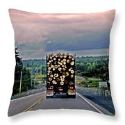 Load Of Logs Throw Pillow