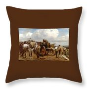Loading At The Quarry Throw Pillow