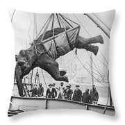 Loading Elephant, 1930s Throw Pillow
