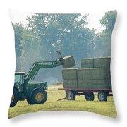 Loading Hay At Dusk Throw Pillow