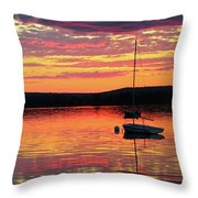 Loan Boat On A River At Sunset Throw Pillow