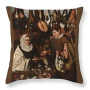 Loarte, Alejandro De Madrid , 1590 - Toledo, 1626 The Poultry Vendor 1626. Throw Pillow