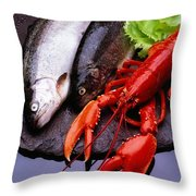 Lobster And Trout Throw Pillow