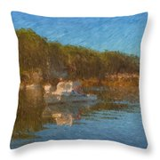 Lobster Boat Boothbay Harbor Throw Pillow