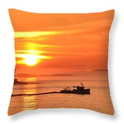 Lobster Boat Throw Pillow