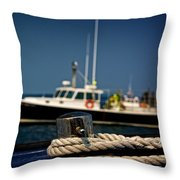 Lobster Boat I Throw Pillow