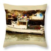 Lobster Boat Stonington Ct Throw Pillow