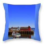 Lobster Boats In Harbor Throw Pillow