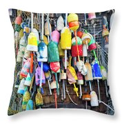 Lobster Buoys And Nets - Maine Throw Pillow