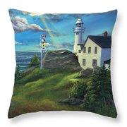 Lobster Cove Head Lighthouse, Rocky Harbour, Nl Throw Pillow