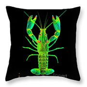 Lobster Crawfish In The Dark - Greenlime Throw Pillow