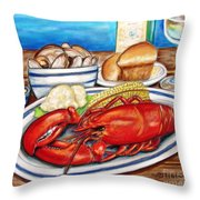 Lobster Dinner Throw Pillow