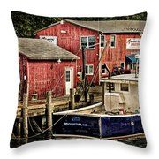 Lobster Market In Boothbay Harbor Throw Pillow