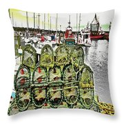 Lobster Pots Kilmore Quay, Wexford, Ireland, Poster Effect 1a Throw Pillow